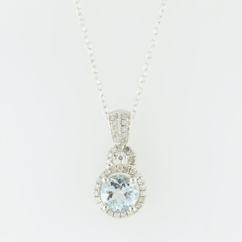 Pinctore Sterling Silver 1.13ctw Aquamarine & Diamond Pendant 0.75'L with 18' Chain - pinctore