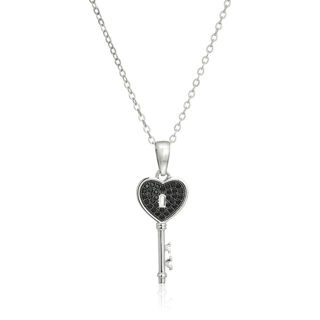 "Sterling Silver Black Spinel Key Pendant Necklace, 18"" - pinctore"