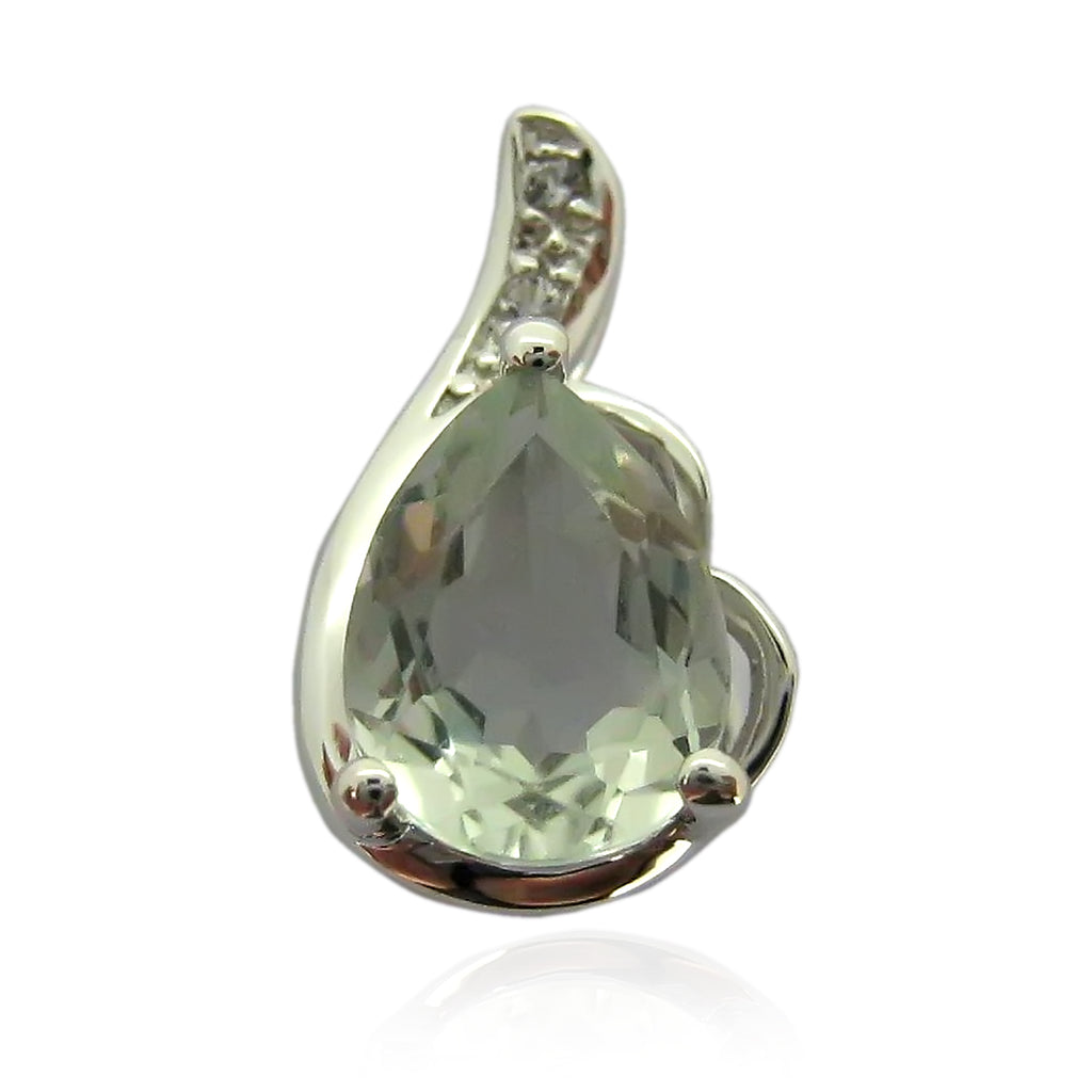 "Sterling Silver Green Amethyst and Created White Sapphire Pear Solitaire Pendant Necklace, 18"" - pinctore"
