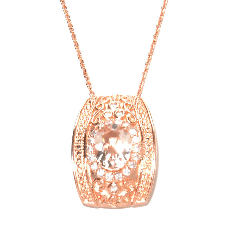 Pinctore 18K Rose Gold Over Silver 1.9ctw Morganite & White Zircon Filigree Pendant 0.8'L - pinctore