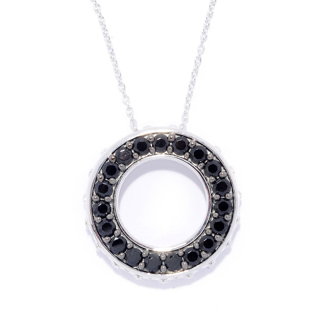 Pinctore Sterling Silver 2.61ctw Black Spinel Circle of Life Necklace with 18' Chain - pinctore