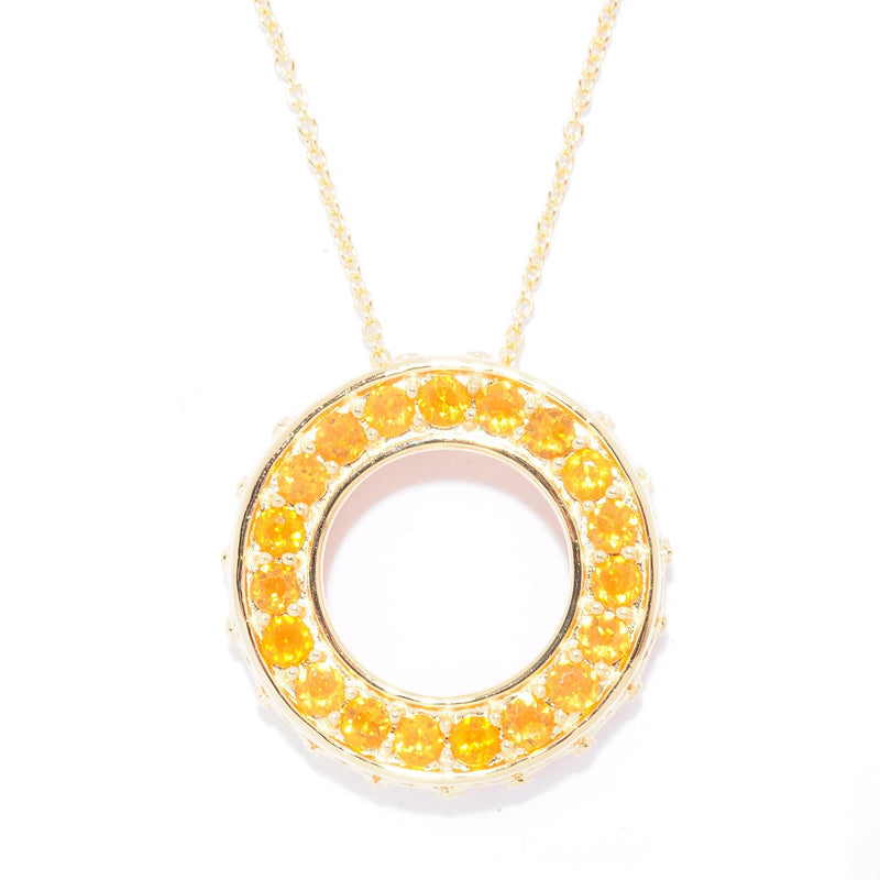 Pinctore SS/18K Yellow Gold Vermeil 1.4ctw Fire Opal Circle of Life Pendant with 18'Chain - pinctore