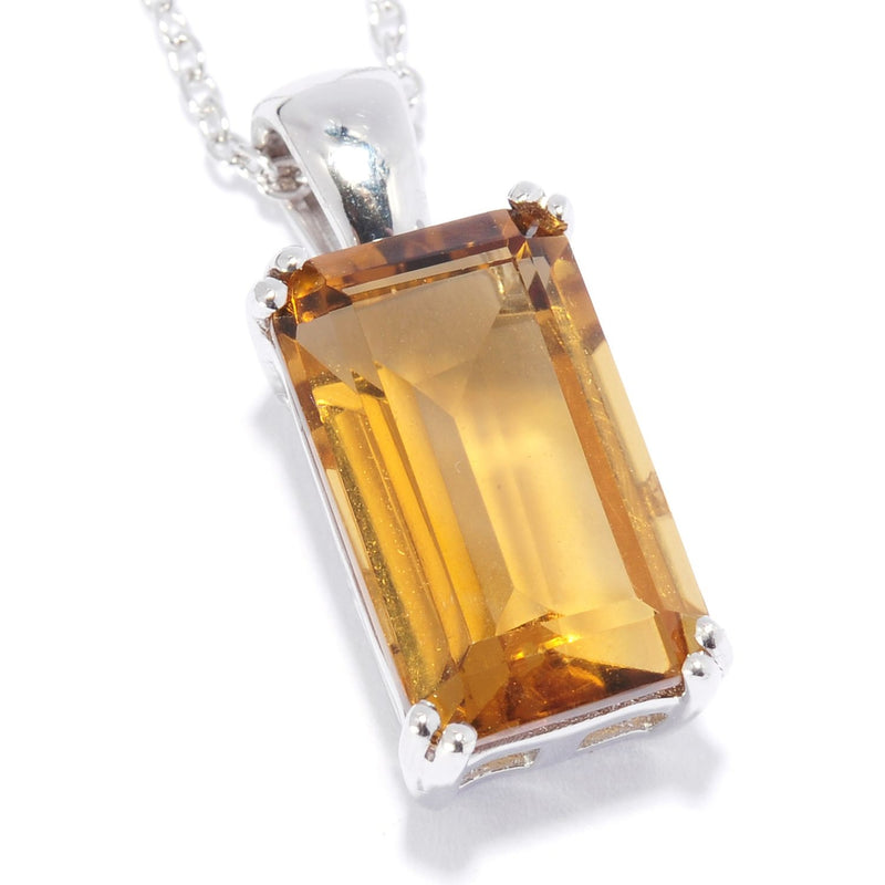 Pinctore Sterling Silver 4.83ctw Whisky Quartz 0.81'L Pendant with 18' Chain - pinctore