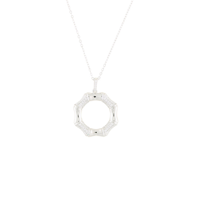 Pinctore Sterling Silver 0.15ctw White CZ 1.25'L Octagon Shaped Pendant with 18' Chain - pinctore