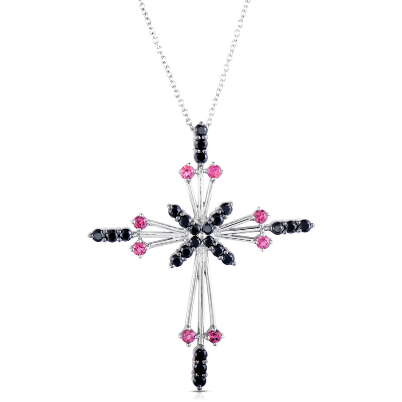 Pinctore Sterling Silver 2.85ctw Pink Tourmaline Cross Pendant 2.00'L with 18' Chain - pinctore