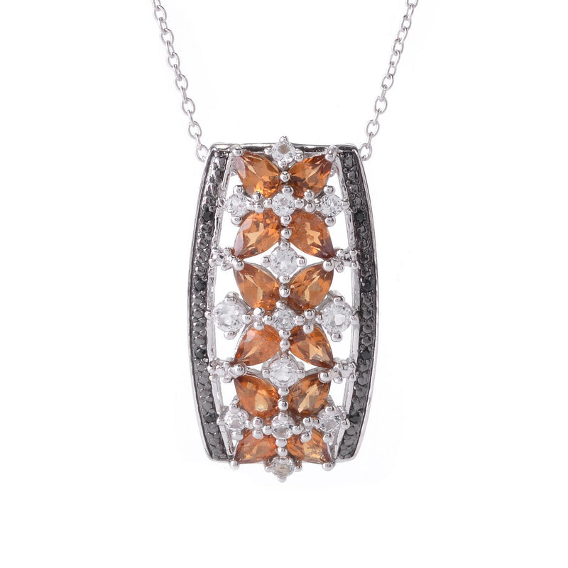 Pinctore Sterling Silver 3.83ctw Hessonite Garnet Cluster Pendant 1.25'L with 18' Chain - pinctore