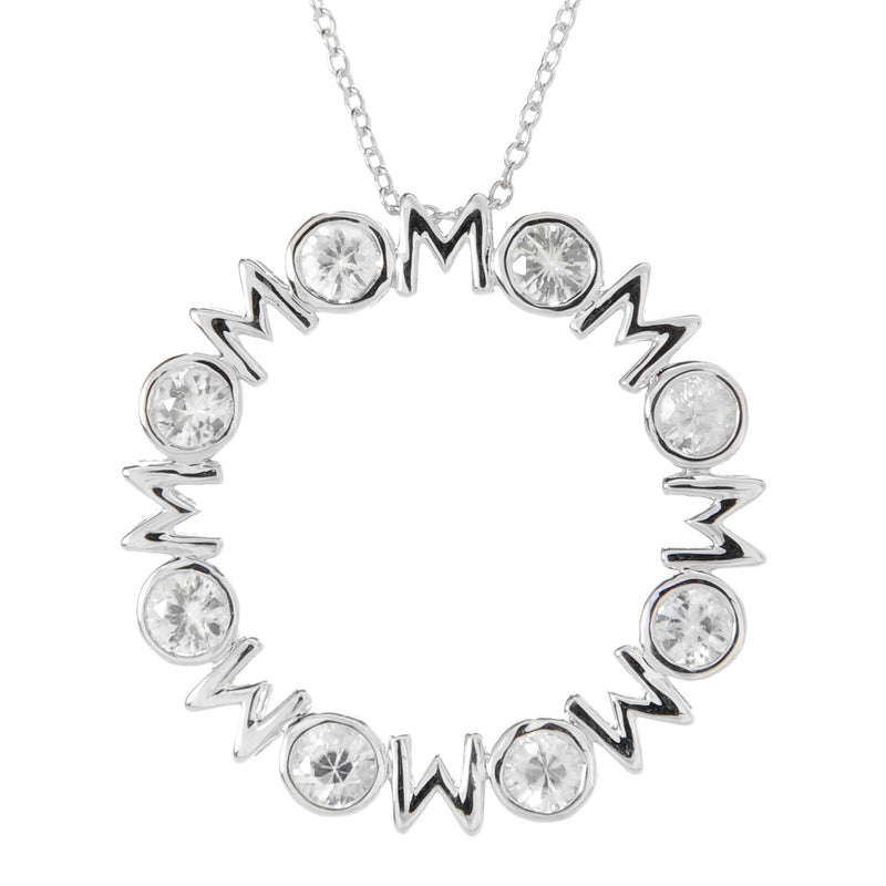 Pinctore Sterling Silver 2.67ctw White Zircon 4mm Round 'Mom' Pendant w/ 18' Cable Chain - pinctore