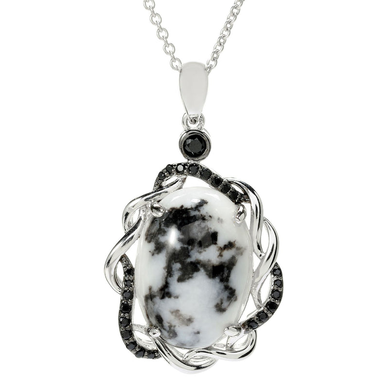"Pinctore Sterling Silver 18 x 13mm Oval White Buffalo & Black Spinel Pendant w/ 18"" Chain - pinctore"