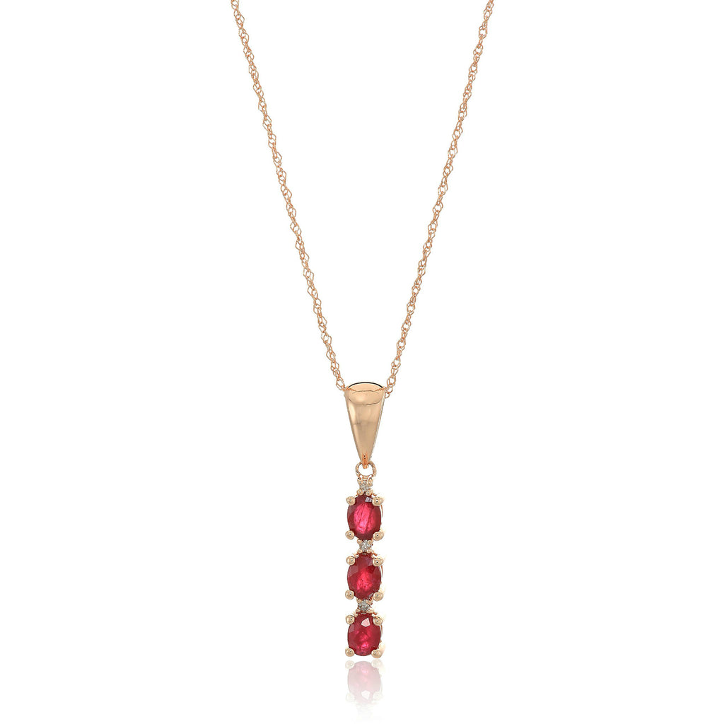 "10k Rose Gold Genuine Ruby And Diamond 3-Stone Pendant Necklace, 18"" - pinctore"