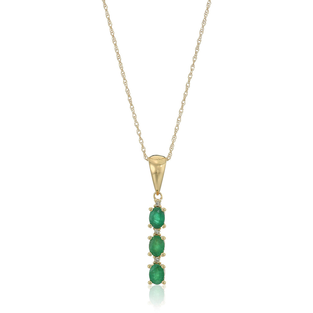 "10k Yellow Gold Genuine Emerald And Diamond 3-Stone Pendant Necklace, 18"" - pinctore"