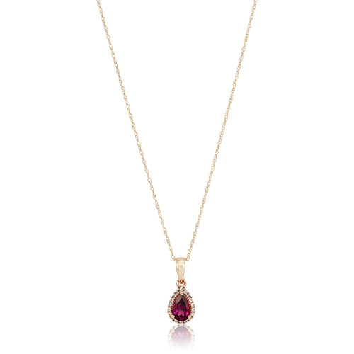 "10k Rose Gold Rhodolite and Created White Sapphire Pear Halo Pendant Necklace, 18"" - pinctore"