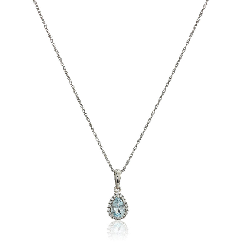 "10k White Gold Aquamarine and Created White Sapphire Pear Halo Pendant Necklace, 18"" - pinctore"