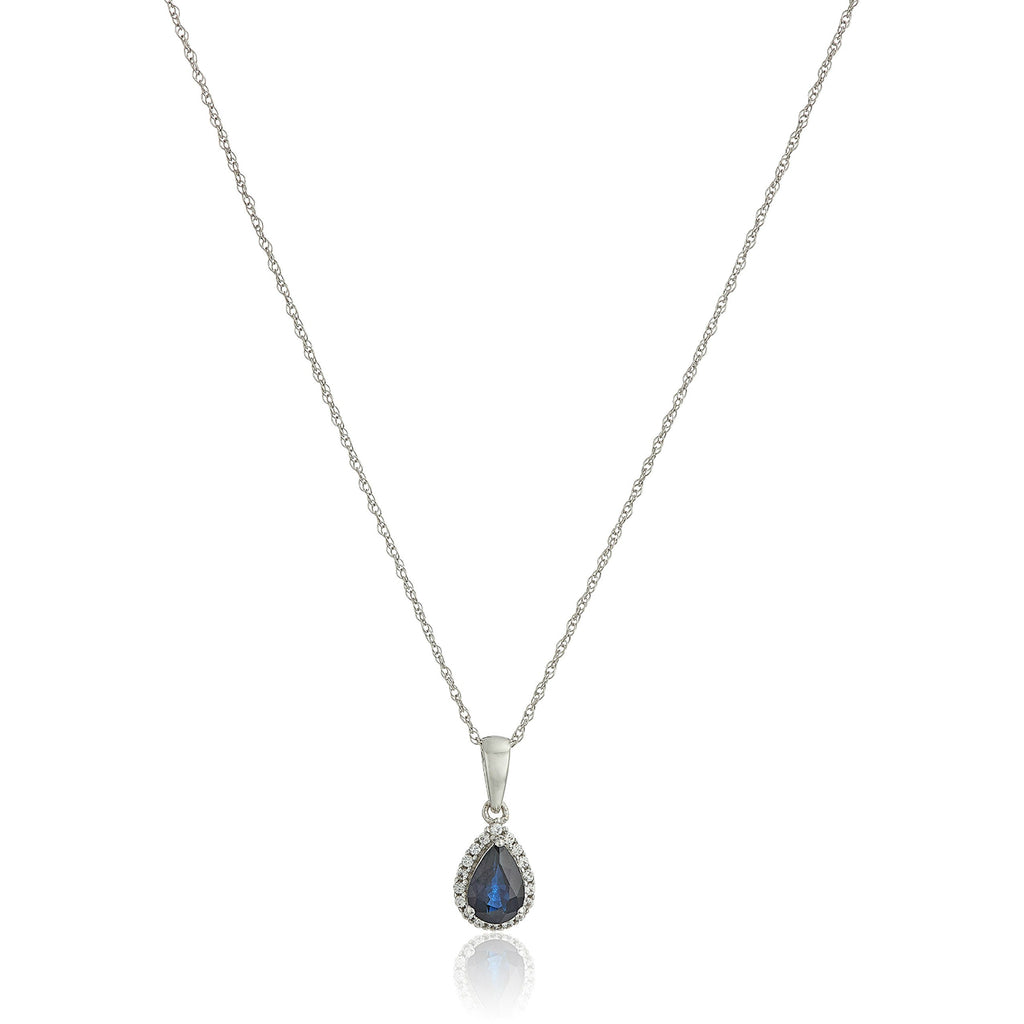 "10k White Gold Blue Sapphire and Created White Sapphire Pear Halo Pendant Necklace, 18"" - pinctore"