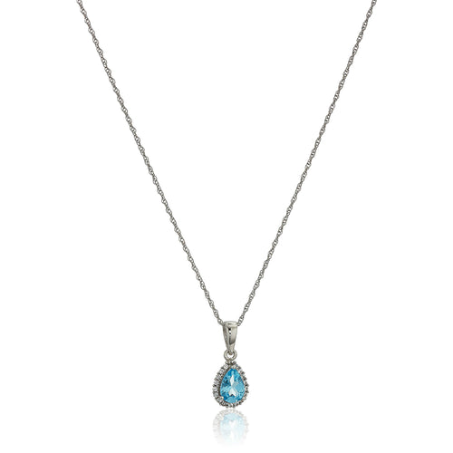 "10k White Gold Swiss Blue Topaz and Created White Sapphire Pear Halo Pendant Necklace, 18"" - pinctore"