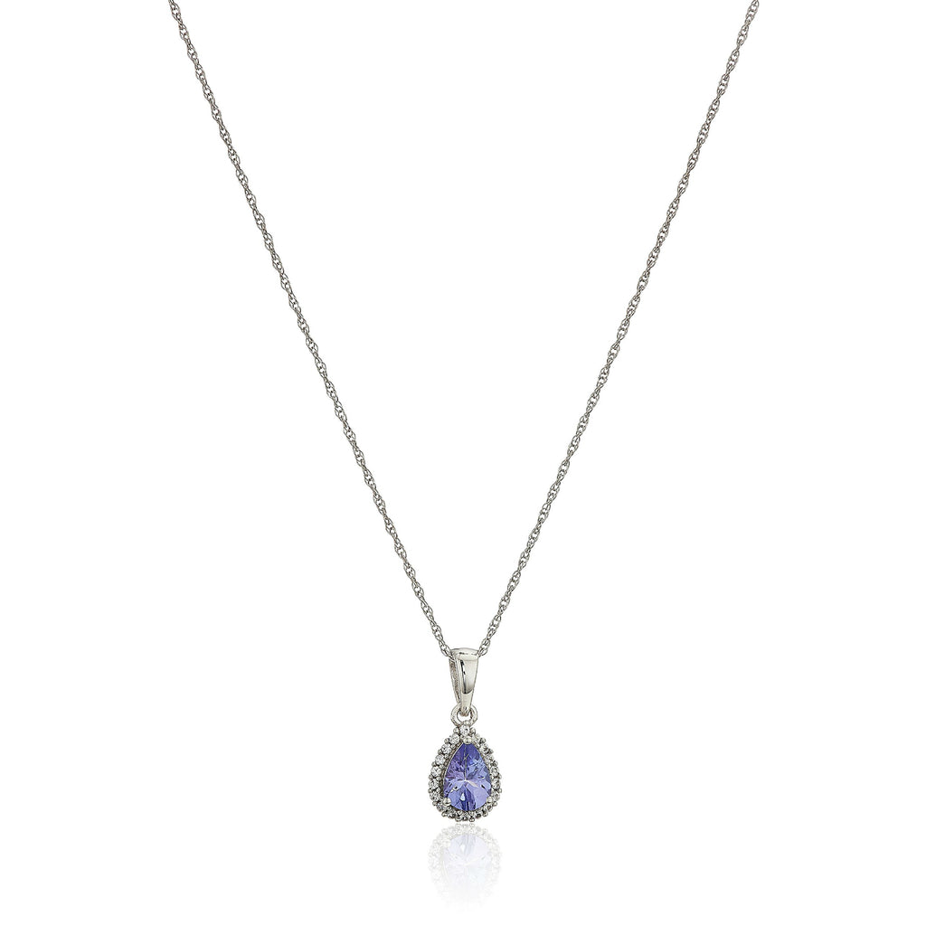 "10k White Gold Tanzanite and Created White Sapphire Pear Halo Pendant Necklace, 18"" - pinctore"