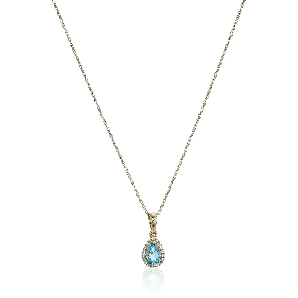 "10k Yellow Gold Swiss Blue Topaz and Created White Sapphire Pear Halo Pendant Necklace, 18"" - pinctore"