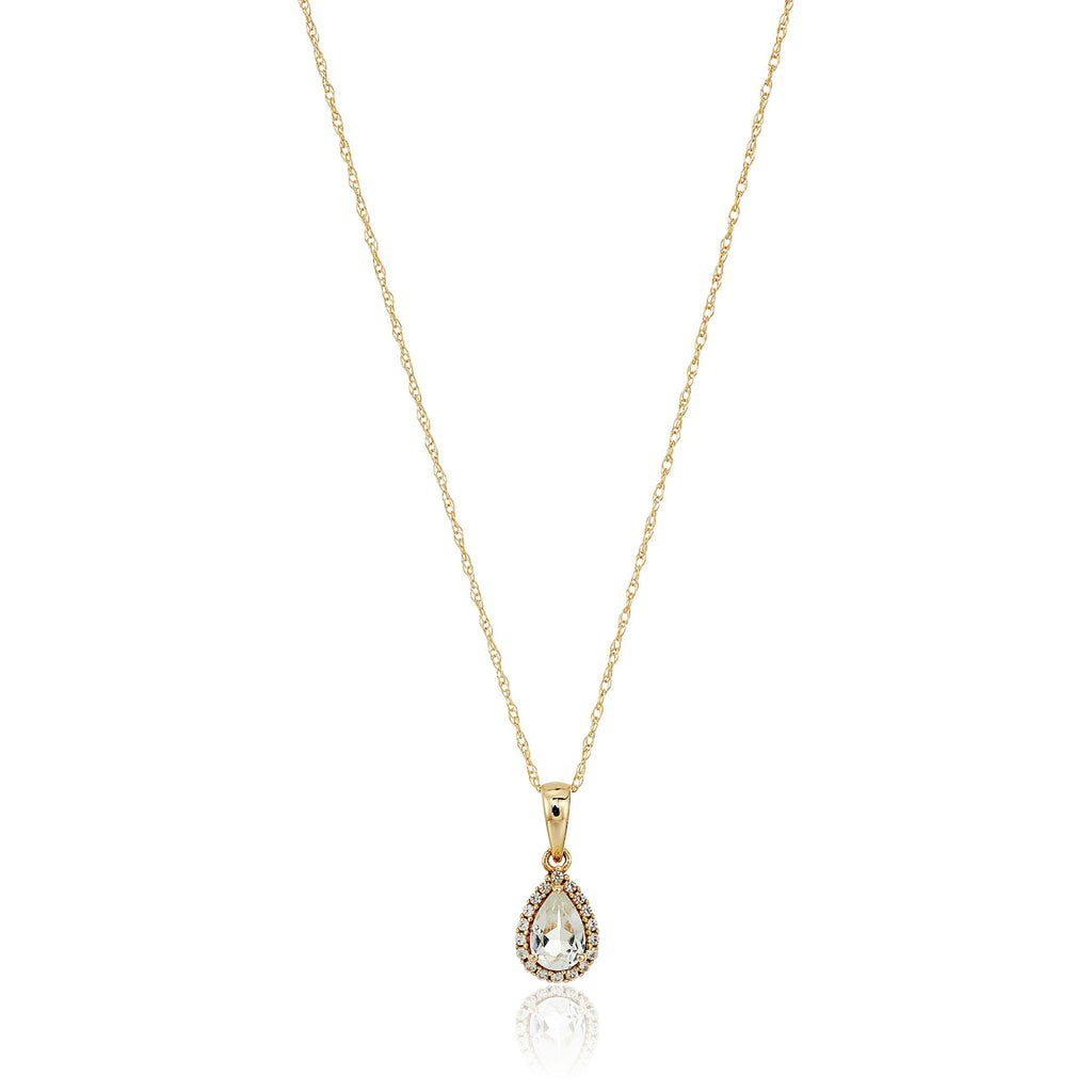 "10k Yellow Gold White Topaz and Created White Sapphire Pear Halo Pendant Necklace, 18"" - pinctore"