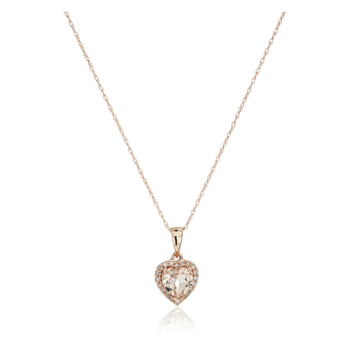 "10k Rose Gold Morganite Heart and Diamond Pendant Necklace (1/10cttw,H-I Color, I1-I2 Clarity), 18"" - pinctore"