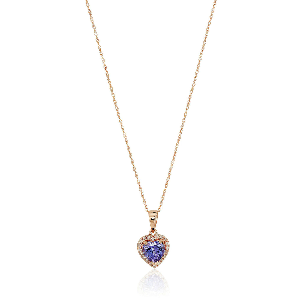"10k Rose Gold Tanzanite Heart and Diamond Pendant Necklace, (1/10 cttw H-I Color, I1-I2 Clarity), 18"" - pinctore"