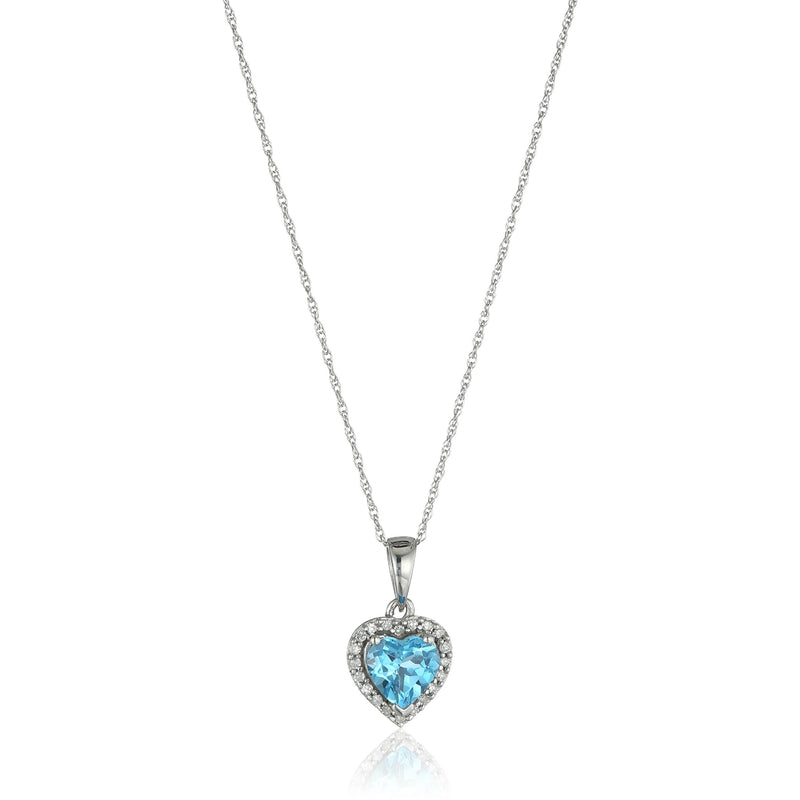 "10k White Gold Swiss Blue Topaz Heart and Diamond Pendant Necklace, (1/10 cttw H-I Color, I1-I2 Clarity), 18"" - pinctore"