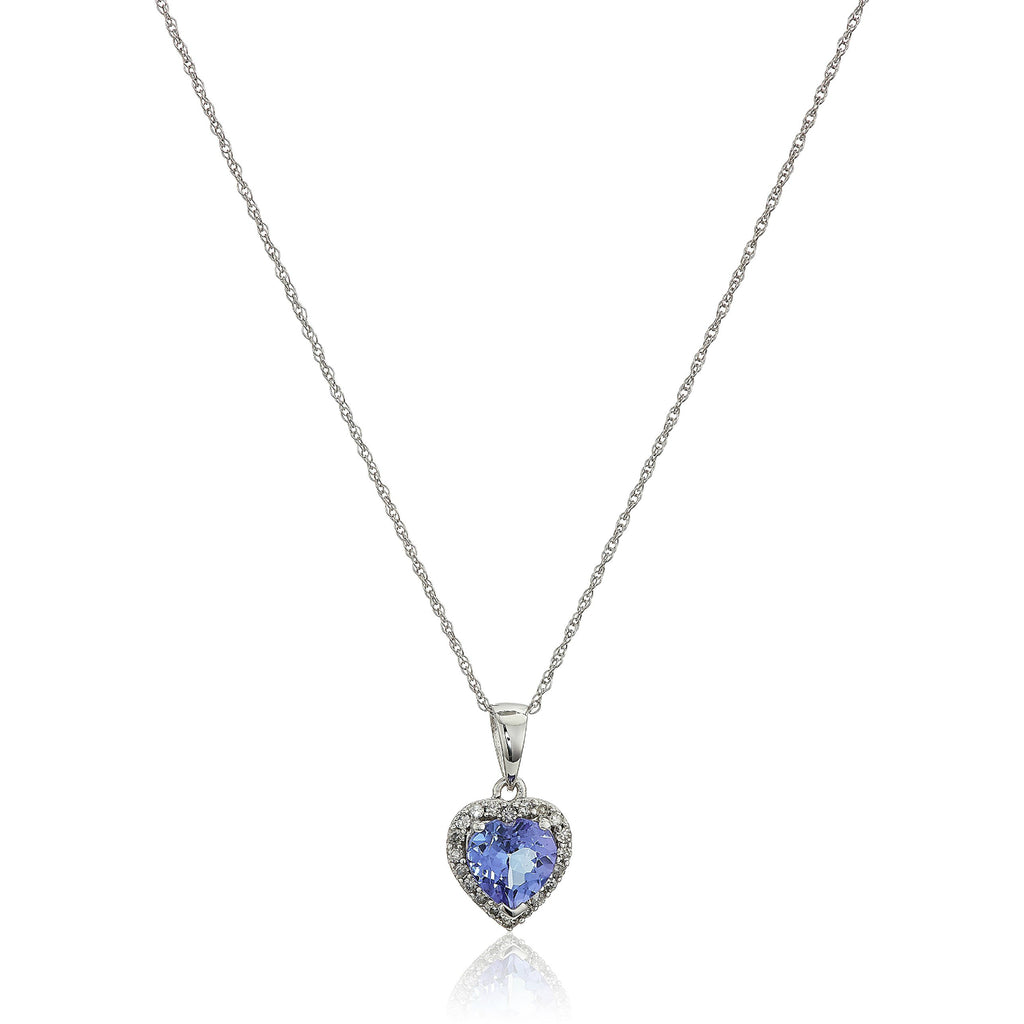 "10k White Gold Tanzanite Heart and Diamond Pendant Necklace, (1/10 cttw H-I Color, I1-I2 Clarity), 18"" - pinctore"