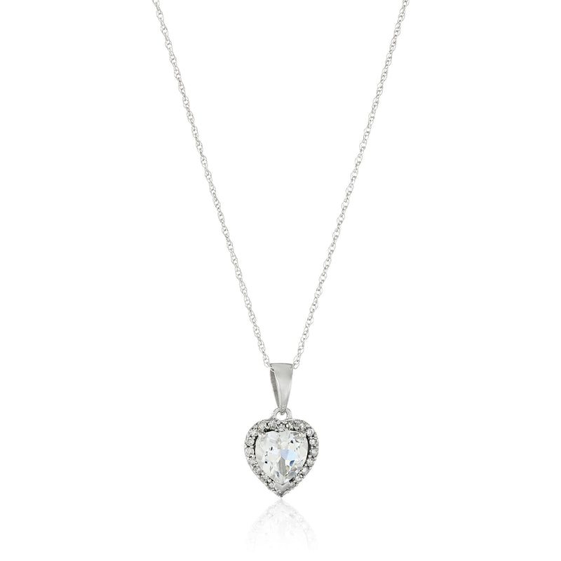 "10k White Gold White Topaz Heart and Diamond Pendant Necklace, (1/10 cttw H-I Color, I1-I2 Clarity), 18"" - pinctore"