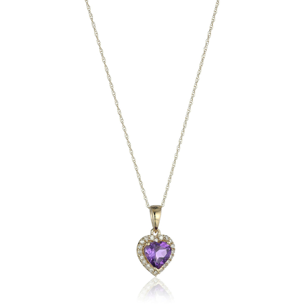 "10k Yellow Gold African Amethyst Heart and Diamond Pendant Necklace, (1/10 cttw H-I Color, I1-I2 Clarity), 18"" - pinctore"