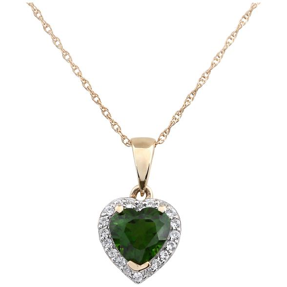 "10k Yellow Gold Chrome Diopside Heart and Diamond Pendant Necklace, (1/10 cttw H-I Color, I1-I2 Clarity), 18"" - pinctore"