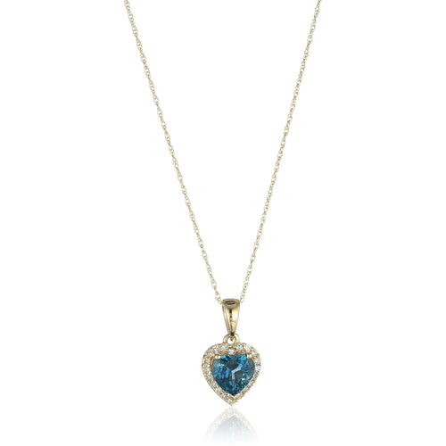 "10k Yellow Gold London Blue Topaz Heart and Diamond Pendant Necklace, (1/10 cttw H-I Color, I1-I2 Clarity), 18"" - pinctore"