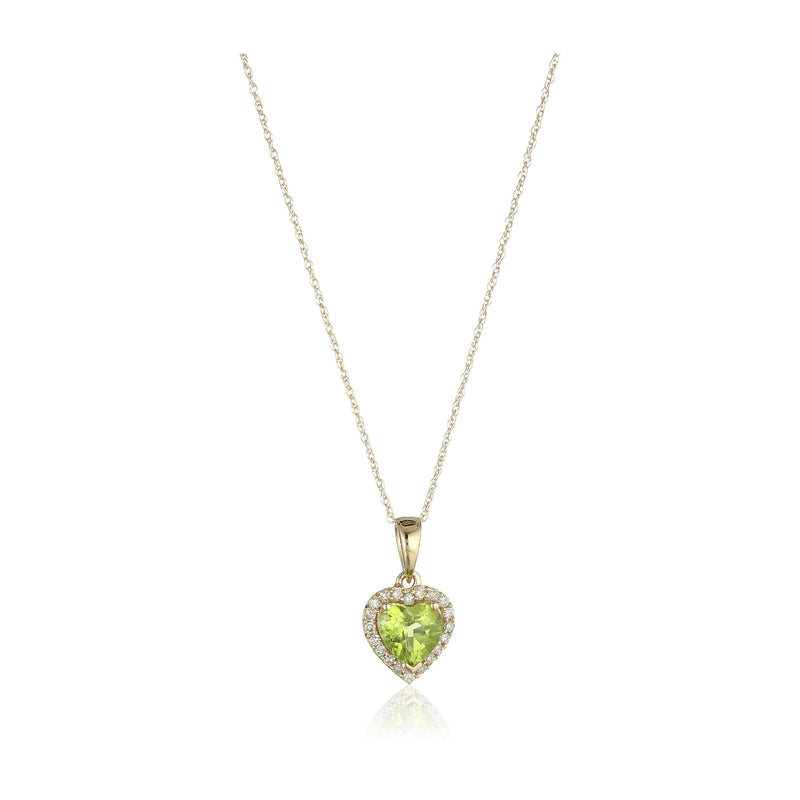 "10k Yellow Gold Peridot Heart and Diamond Pendant Necklace, (1/10 cttw H-I Color, I1-I2 Clarity), 18"" - pinctore"
