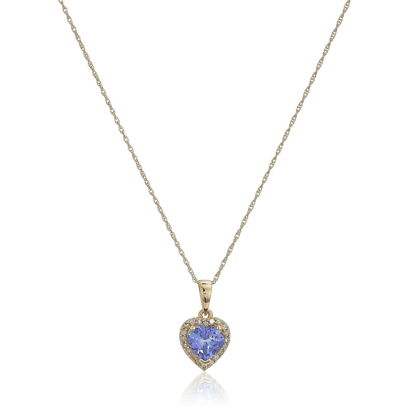 "10k Yellow Gold Tanzanite Heart and Diamond Pendant Necklace, 18"" - pinctore"