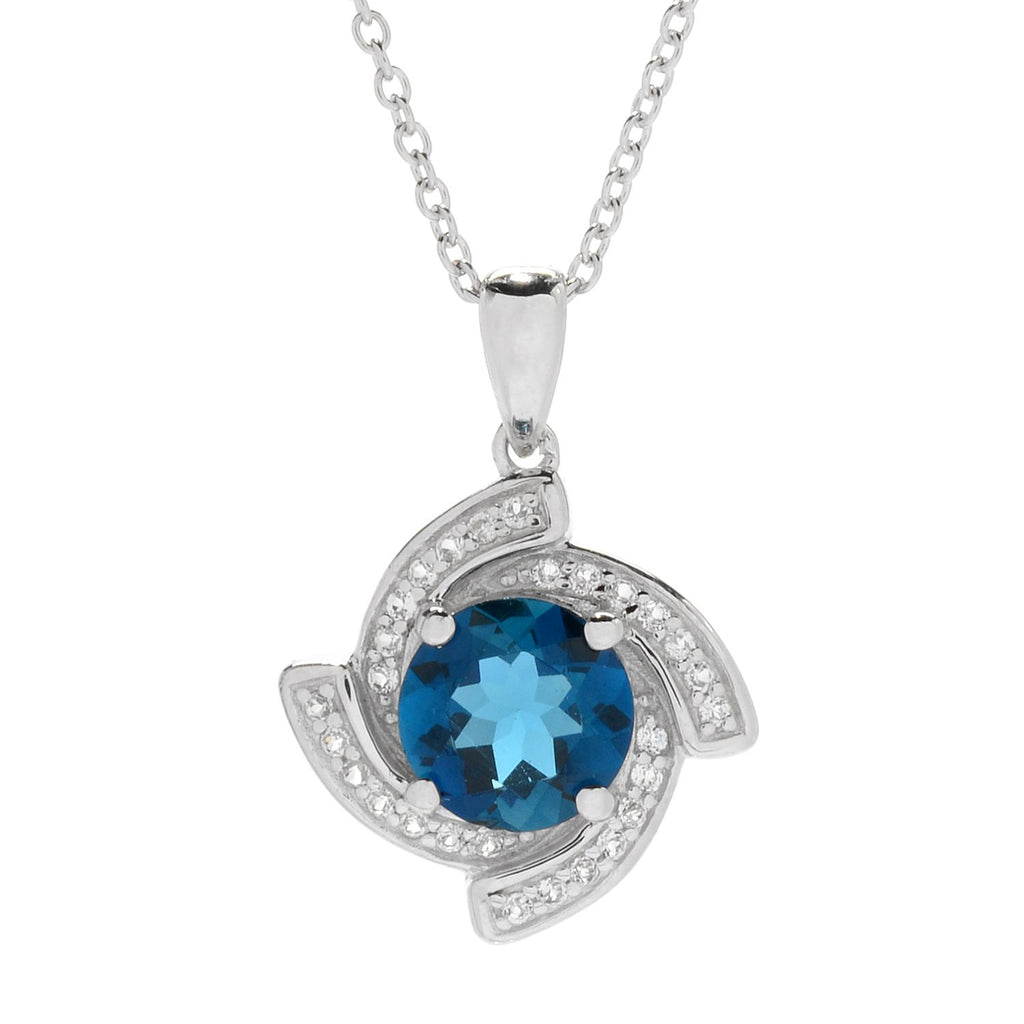 "Pinctore Sterling Silver London Blue Topaz & White Topaz Twist Halo Pendant w/ 18"" Chain - pinctore"