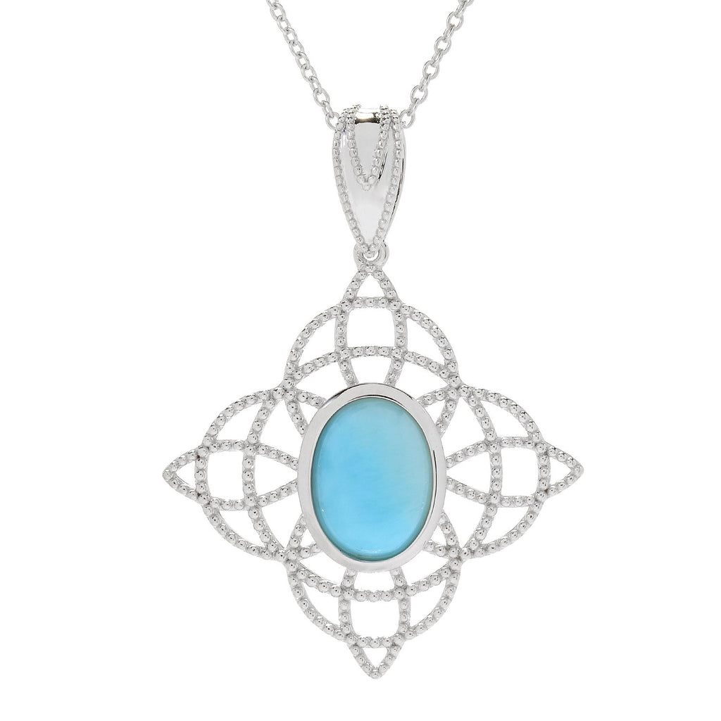 Pinctore Sterling Silver 14 x 10mm Oval Larimar Beaded Pendant w/Chain