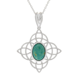 Pinctore Sterling Silver 14 x 10mm Oval Tyrone Turquoise Beaded Pendant w/Chain - pinctore