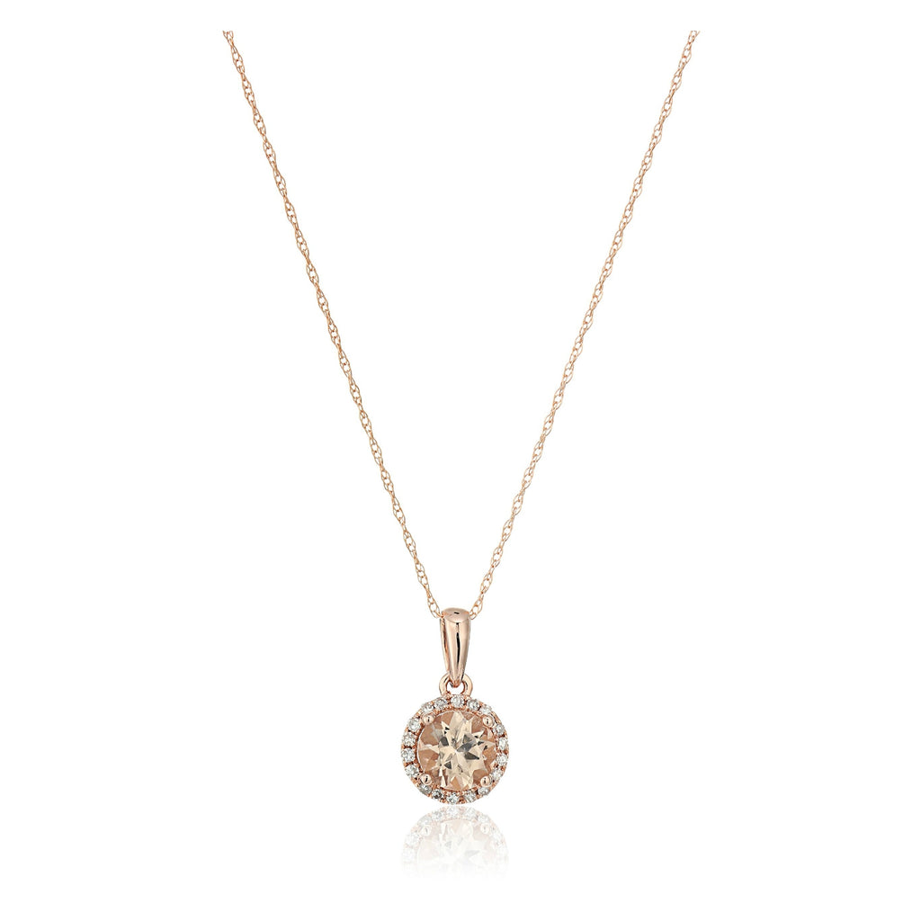 10k Rose Gold Morganite And Diamond Classic Princess Di Halo Pendant Necklace (1/10cttw, H-I Color, I1-I2 Clarity), 18""