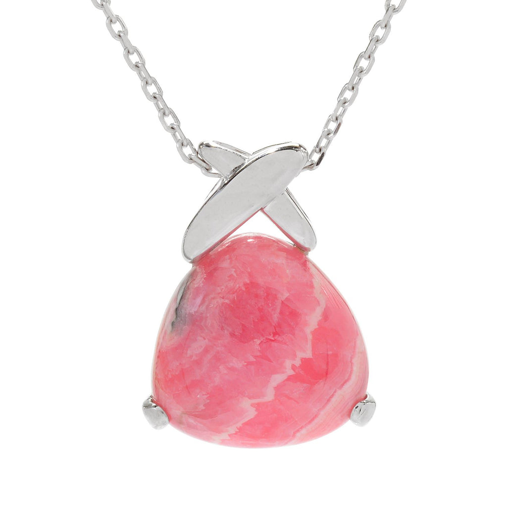 Pinctore Sterling Silver 20mm Trillion Shaped Rhodochrosite Pendant w/Chain