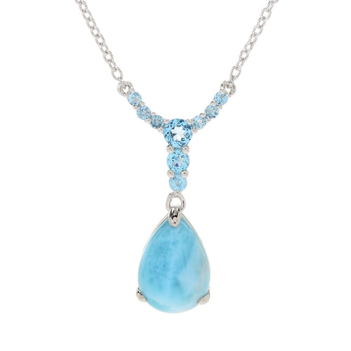"Pinctore Sterling Silver 18"" Larimar & Swiss Blue Topaz Drop Necklace - pinctore"