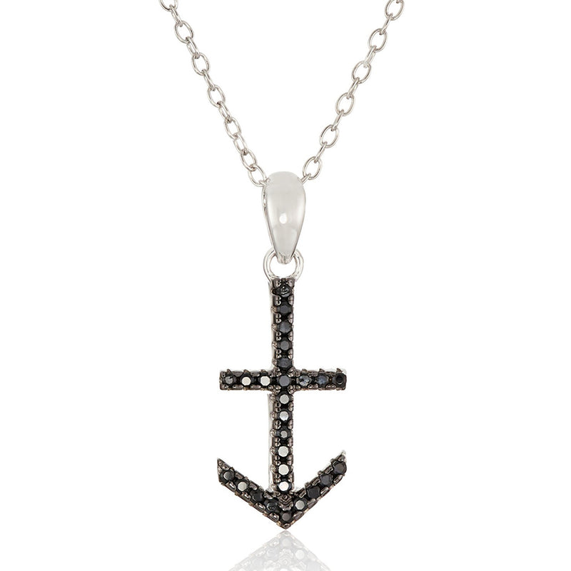 Pinctore Sterling Silver Black Spinel Anchor Pendant Necklace, 18""