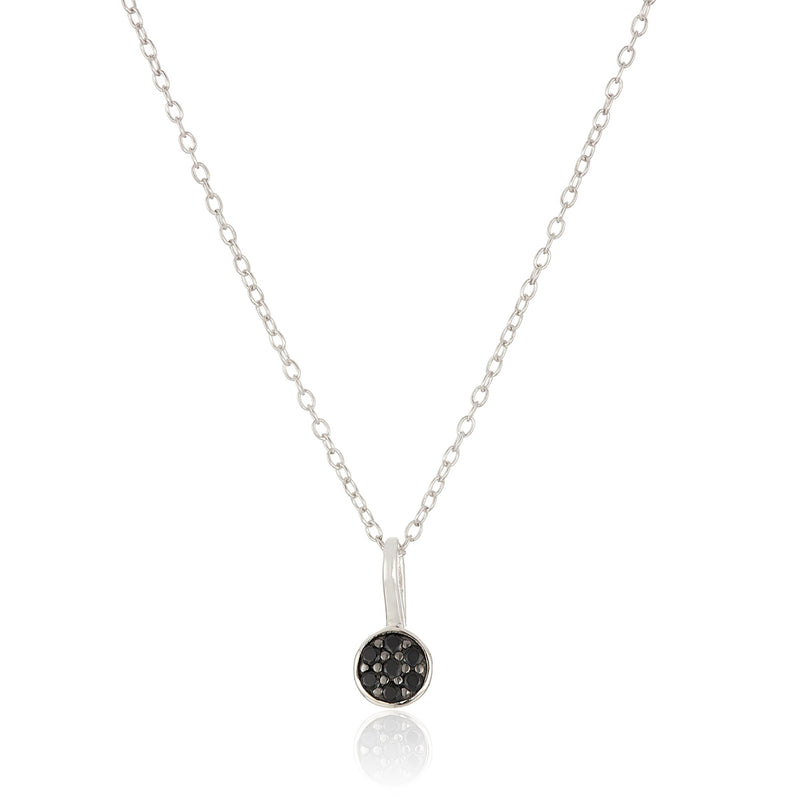 Pinctore Sterling Silver Black Spinel Petite Pendant Necklace, 18""