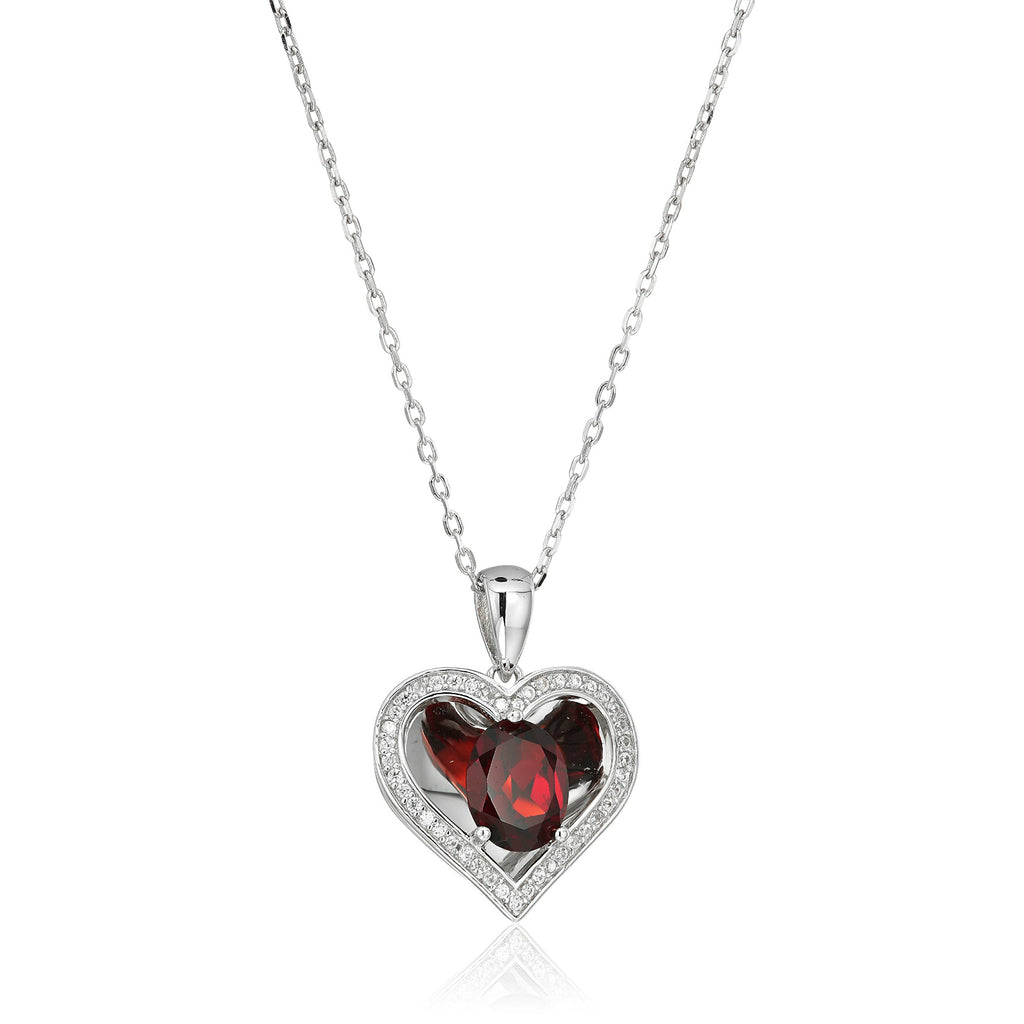 Sterling Silver Red Garnet Reflection Heart Pendant Necklace, 18""