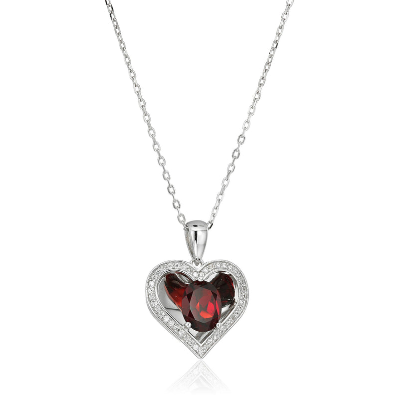 "Sterling Silver Red Garnet Reflection Heart Pendant Necklace, 18"" - pinctore"