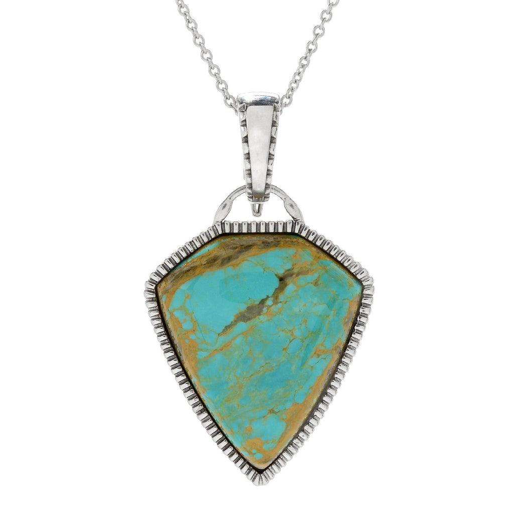 Pinctore Sterling Silver 30 x 25mm Tyrone Turquoise Enhancer Pendant w/Chain - pinctore