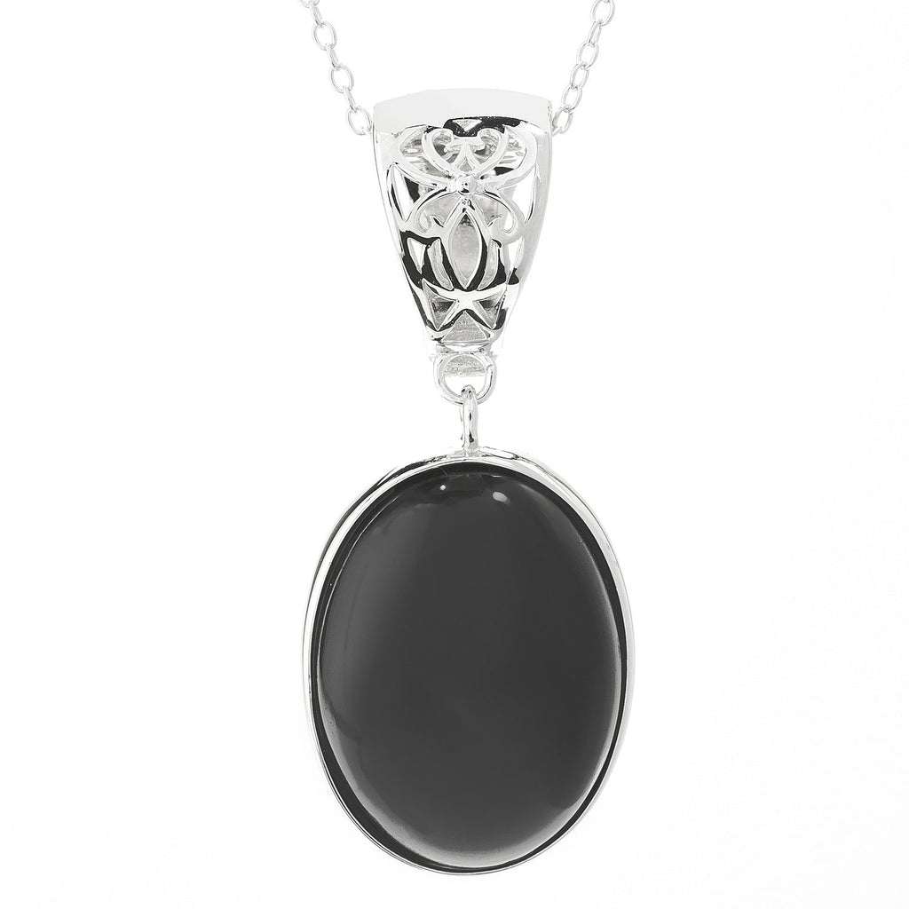 "Pinctore Sterling Silver 20 x 15mm Oval Black Spinel Enhancer Pendant w/ 18"" Chain"