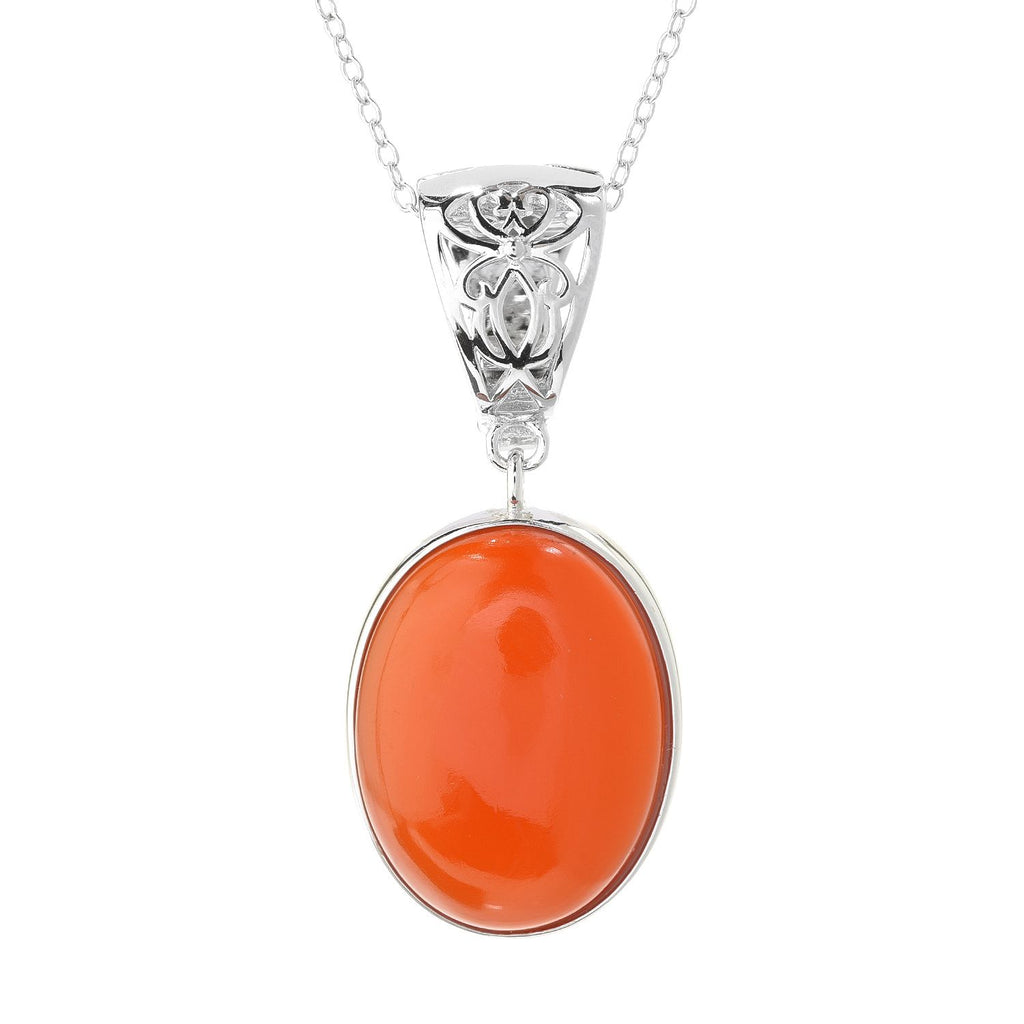 "Pinctore Sterling Silver 20 x 15mm Oval Carnelian Enhancer Pendant w/ 18"" Chain"