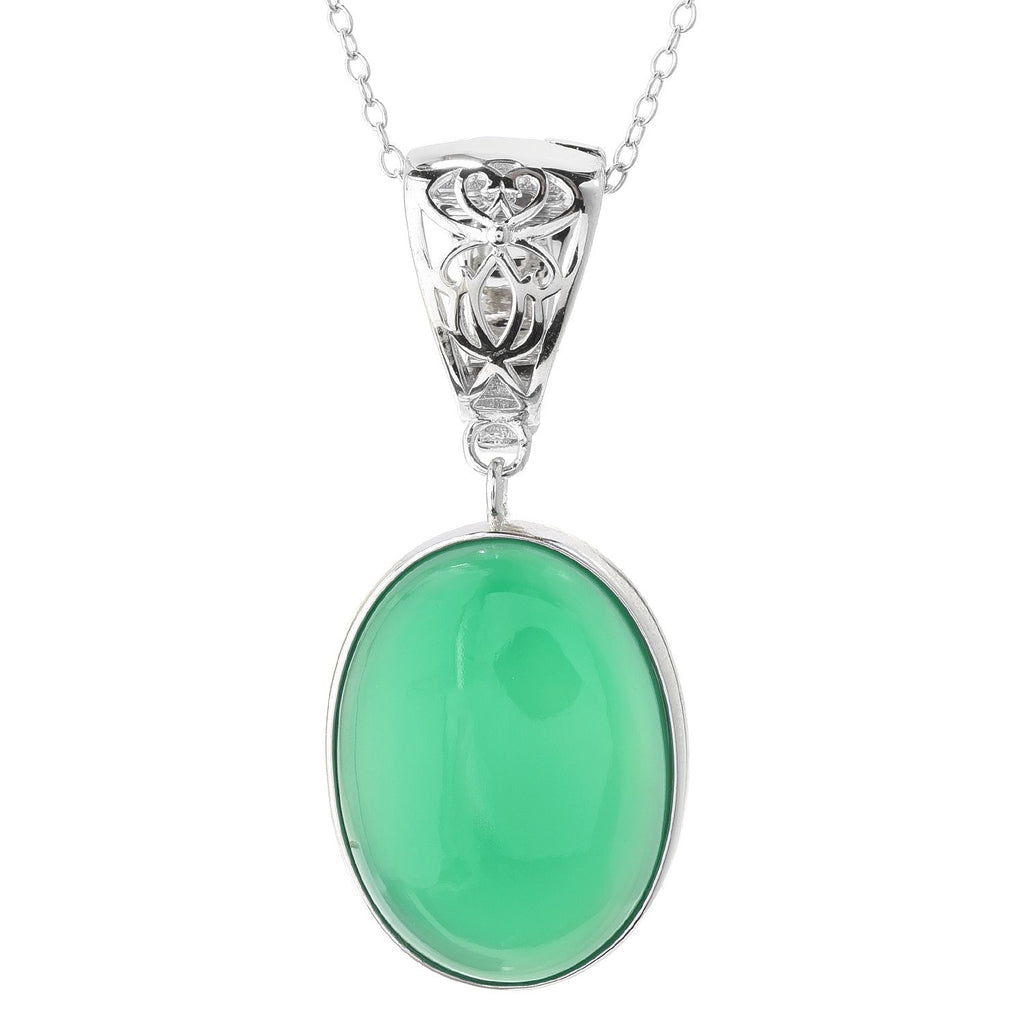"Pinctore Sterling Silver 20 x 15mm Oval Green Agate Enhancer Pendant w/ 18"" Chain"