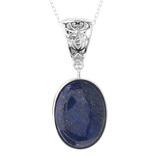 "Pinctore Sterling Silver 20 x 15mm Oval Lapis Enhancer Pendant w/ 18"" Chain - pinctore"