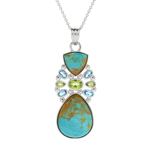 "Pinctore Sterling Silver Tyrone Turquoise & Multi Gemstone Pendant w/ 18"" Chain - pinctore"