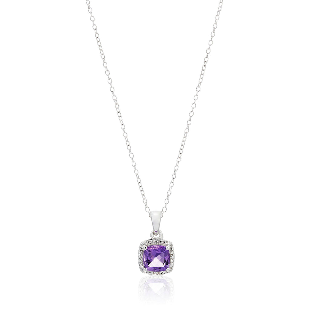 Sterling Silver Cushion Amethyst and Diamond Accented Halo Pendant Necklace, 18""