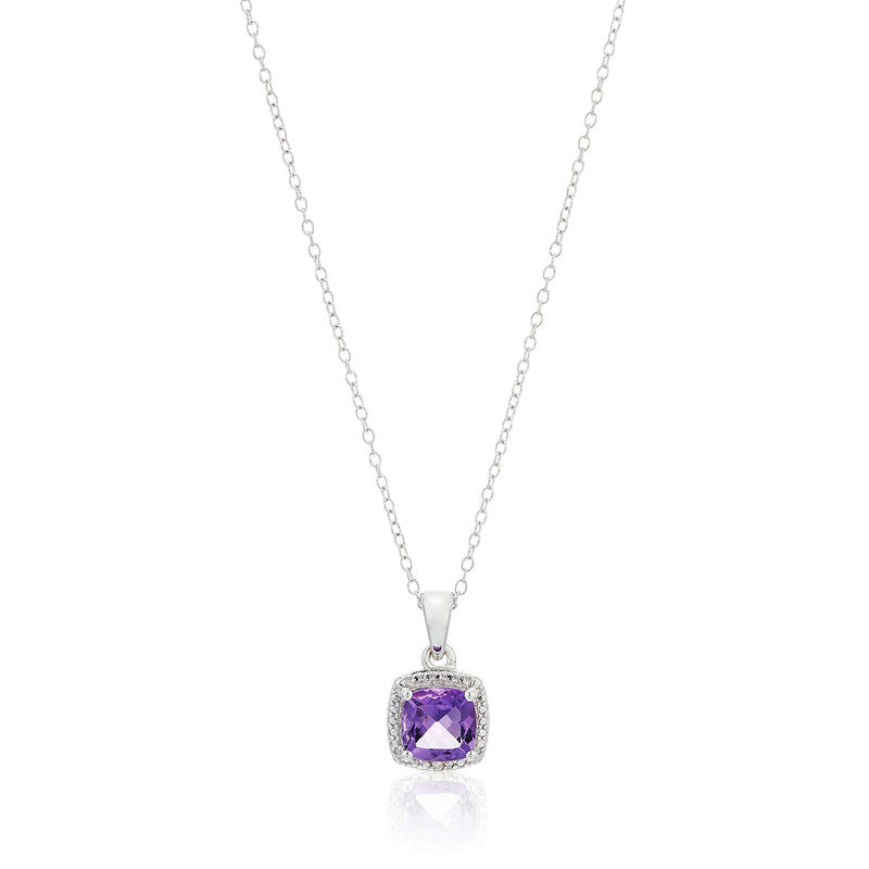 "Sterling Silver Cushion Amethyst and Diamond Accented Halo Pendant Necklace, 18"" - pinctore"