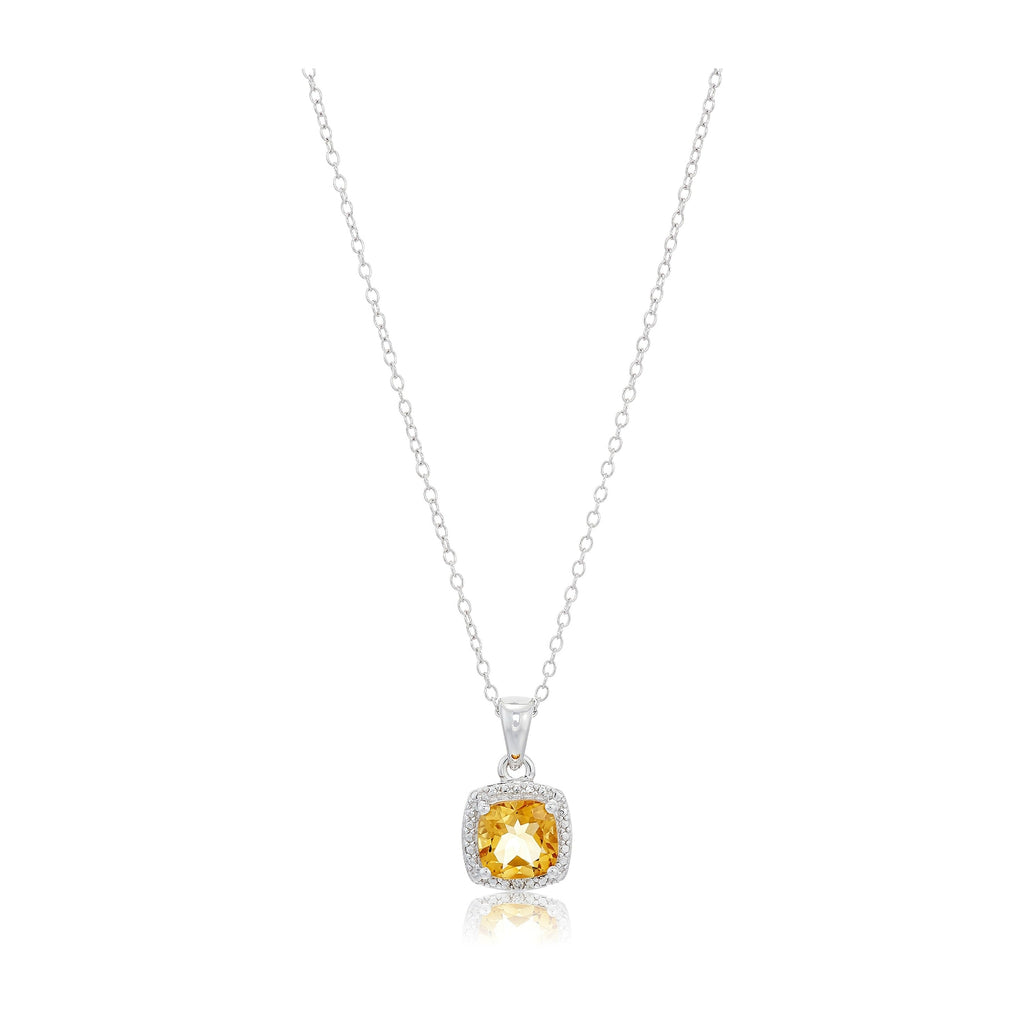 Sterling Silver Cushion Citrine and Diamond Accented Halo Pendant Necklace, 18""